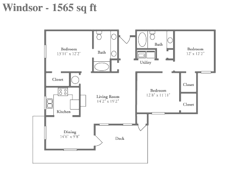 3 Bedroom Floor Plans | Crowne at Timberline: Stylish apartments ...